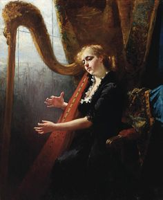 Playing the harp by Thérèse Schwartze (1851-1918)