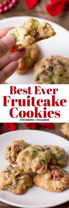 Best Ever Fruitcake Cookies tastes like Christmas in a bite! You will want to make a double batch! : Best Ever Fruitcake Cookies tastes like Christmas in a bite! You will want to make a double batch! Fruit Cake Cookies Recipe, Cookie Desserts, Yummy Cookies, Donut Recipes, Cookie Recipes, Dessert Recipes, Baking Recipes, Christmas Desserts, Christmas Baking