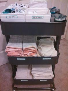Cloth diaper storage in a raskog