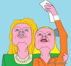 Selife (foto a sí misma) de la cocinera almidonera con su hermana. Como era su primera vez haciéndose un selfie, el resultado fue penoso: ¡dos cerditas borrosas!
