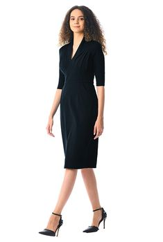 Feminine pleated cotton knit sheath dress-CL0059652 I Dress 5d8f17212563