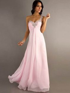 A Line One Shoulder Beaded Sweetheart Sleeveless Pink Long Prom Dress