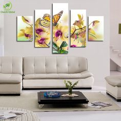 5-Panel-Large-Modern-Flower-Butterfly-Canvas-Painting-Cuadros-Wall-Picture-For-Living-Room-High-Definition.jpg (900×900)