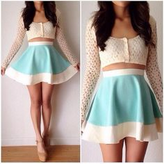 Crop top and high waisted skirt, not sure about the sleeves though.