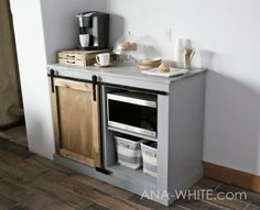 Want to upgrade your guest room, dorm room, break room, airbnb rental by adding a microwave, mini fridge and coffee maker? and also happen to love barn door Farmhouse Furniture, Kitchen Furniture, Cheap Furniture, Luxury Furniture, Furniture Ideas, Bedroom Furniture, Furniture Nyc, Furniture Removal, Office Furniture