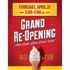 Stop by your local Carvel Ice Cream shop on Thursday, April 26, 2012 to enjoy a soft serve junior cone, absolutely free. No purchase required.