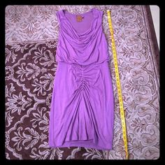 ALI RO Dress size 0 Cute purple dress by Ali Ro. Fully lined, size 0, fits true to size. Made of soft knit fabric, made in USA. It has a swoop neck, and a fitted skirt that fits amazingly. Can stretch, and the inner lining is really soft. Worn once, then professionally dry cleaned so it's ready to use! Ali Ro Dresses Midi