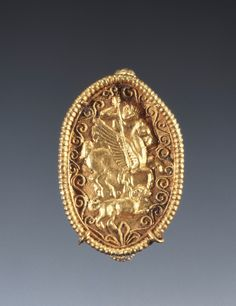 thegetty:  Put a Ring on It Who wouldn't want to wear a gold ring featuring the slaying of a Chimaera, a mythological beast with the head and body of a lion, a goat's head on its back, and a snakes head as a tail. Oh, and it breathes fire. (And was made between 340 - 320 B.C.)