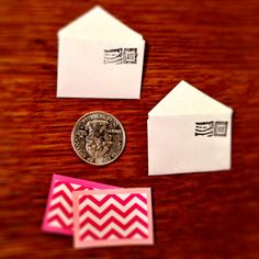 Fancy mini mail is great for dolls, doll houses, or just to leave a tiny note for someone special. Envelopes are tiny and come with a mini