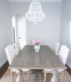 Restoration Hardware RH 17th Monastery Grey Acacia Dining Table White  Chandelier Tufted Dining Chairs Roses Benjamin