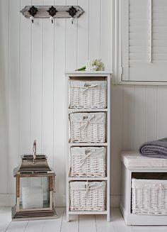 slim, narrow basket storage, white cottage furniture