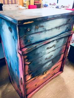 Painted dresser-layered paint-boho-refurbished furniture-chalk paint by Megan Sh. Painted dresser-layered paint-boho-refurbished furniture-chalk paint by Megan Shomidie Distressed Furniture Painting, Funky Furniture, Refurbished Furniture, Furniture Layout, Paint Furniture, Unique Furniture, Repurposed Furniture, Shabby Chic Furniture, Rustic Furniture