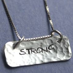 OpenSky Exclusive: STRONG Sterling Silver Hand Stamped Necklace from Jessie Girl Jewelry on OpenSky