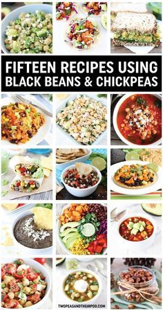 15 Black Bean and Chickpea Recipes on http://twopeasandtheirpod.com We love all of these easy and healthy recipes!