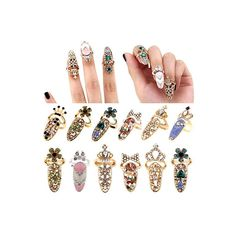 Nail Ring Charm - Nail Rhinestone Bling Accessory - Nail Art Rings - Crown Flower Crystal Bling Ring - 8 Different Styles - Gold or Silver I Love Jewelry, Jewelry Rings, Jewelry Design, Women Jewelry, Jewelry Watches, Jewellery, India Jewelry, Designer Jewelry, Body Jewelry