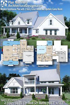 House Plan 16919WG gives you 2,500+ square feet of living space with 3+ bedrooms and 2+ baths. AD House Plan #16919WG #adhouseplans #architecturaldesigns #houseplans #homeplans #floorplans #homeplan #floorplan #houseplan Modern Farmhouse Plans, Modern House Plans, Game Loft, Four Bedroom House Plans, Beautiful Home Designs, Farm Houses, Country House Plans, Next At Home, Exterior Doors