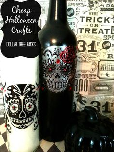 Cheap Halloween crafts dollar tree hacks #halloween #sugarskulls #dayofthedead #halloweendecor