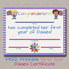 Fashionable Moms: Girl Scouts: FREE Printable Daisies First Year Certificate