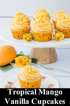 cupcake recipes These tropical mango vanilla cupcakes are moist, buttery, and have a hint of coconut. The buttercream tastes fresh, sweet, and is bursting with mango flavor. Mango Cupcakes, Vanille Cupcakes, Tropical Cupcakes, Summer Cupcakes, Mocha Cupcakes, Gourmet Cupcakes, Coconut Cupcakes, Strawberry Cupcakes, Velvet Cupcakes