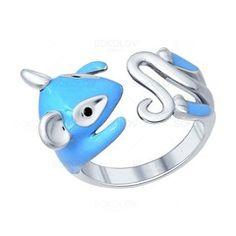 Серебряное кольцо с эмалью и фианитами в виде мышонка