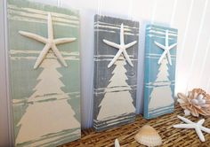 Nautical Starfish Christmas Tree Set - Ocean Shades...no tutorial, but I think a similar look could be accomplished with bead board, paint and a simple stencil.