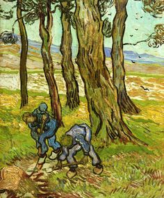 Vincent van Gogh    [Dutch Post-Impressionist Painter, 1853-1890]    Two Diggers among Trees, 1890    oil on canvas    Detroit Institute of the Arts (United States)