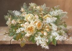 Raoul de Longpre, Tabletop of Roses and Lilacs 19th century