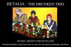 Hetalia Russia Mexico Scotland, wut about ireland? Scotland Hetalia, Pictures Of Russia, Hetalia Russia, Hetalia England, Hetalia Headcanons, Hetalia Funny, Mundo Comic, Dark Lord, Awesome Anime