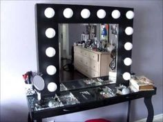 Homemade vanity mirror with lights and table | Vanity mirror ...