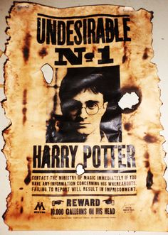 Aged Harry Potter Undesirable No 1 Wanted Poster Print