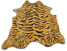 Tiger Cowhide Rug Siberian Tigre Print  D-129 7' X 7' XXL Bengal Print rug #cowhidesusa #Contemporary