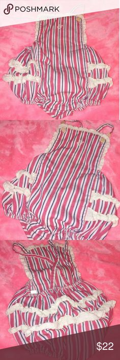 Ralph Lauren Cotton Shortall Red, White and Blue Stripes, White Ruffles, Buttons at the bottom Ralph Lauren One Pieces Bodysuits