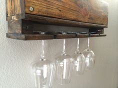 Rustic Wine Rack made of reclaimed wood - 6 Bottle 4 Glass Wine Rack - Rustic home decor that's a super cool and unique wine rack. Made in Colorado, Made in America, and handmade. Only $109.00 here: http://aftcra.com/item/2865. #handmade #madeinAmerica #USAMade #CO #Colorado #WineRack #ReclaimedWood #HomeDecor #HousewarmingGift #CoolWeddingGift
