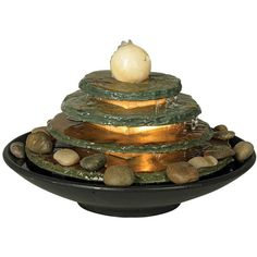 Features: -Indoor table fountain. -Offers a tranquil rock garden ...