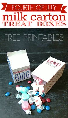Fourth of July milk carton treat boxes!  #freedownload + links to 11 more adorable patriotic #freeprintables