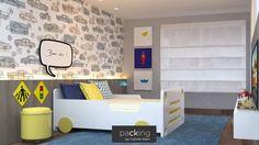 Uma decoração toda inspirada em carros!   Foi esta ideia que o @packingbycamilaklein usou para renovar o quarto infantil do filho de uma de nossas clientes! Utilizamos um papel de parede, placas e cama que seguissem este conceito! #packingbycamilaklein #decoracao #quarto #crianca