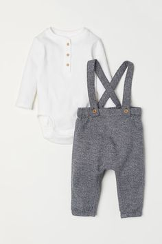 Newborn - Henley Bodysuit and Pants - Gray melange/white - Kids Baby Boy Clothes Hipster, Baby Girl Pants, Newborn Boy Clothes, Baby Boy Shoes, Cute Baby Clothes, Babies Clothes, Babies Stuff, Man Clothes, Kids Clothes Boys