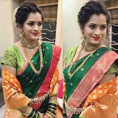 """810 Likes, 6 Comments - Maharashtrian wedding© (@maharashtrian_wedding) on Instagram: """"Maharashtrian wedding Hair and  makeup artist  @richahajiartistry  #maharashtrian_wedding…"""""""