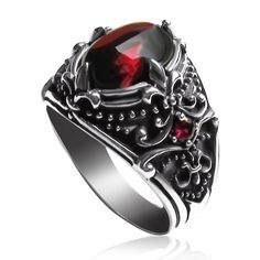 Men's Sterling Silver Vintage Artichoke Gemstone Ring   Yoyoon - 7784