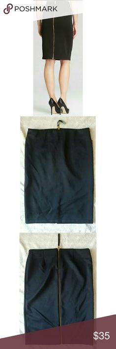 Vince Camuto Pencil Skirt Black pencil skirt by Vince Camuto. Skirt has gold zipper down the back to add interest. This skirt is sophisticated & sexy. 92% polyester; 8% spandex. Approx measurements: Waist 15 in, hips 18 in, length 24 in. Add heels in my closet and bundle2save! Vince Camuto Skirts Pencil