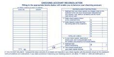 Printable Checking Account Balance Sheet   Checking Account Worksheets