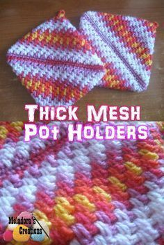 Your place to learn how to Crochet the Thick Mesh Pot Holder for FREE. by Meladora's Creations - Free Crochet Patterns and Video Tutorials.There are instructions for left handed crochet. Crochet Potholder Patterns, Crochet Dishcloths, Cotton Crochet Patterns, Crocheting Patterns, Crochet Granny, Knitting Patterns, Crochet Gifts, Free Crochet, Crochet Owls
