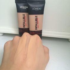 L'Oreal Infallible Pro-Matte Foundation (left is 103, right is 104). Follow my instagram @mellyfmakeup