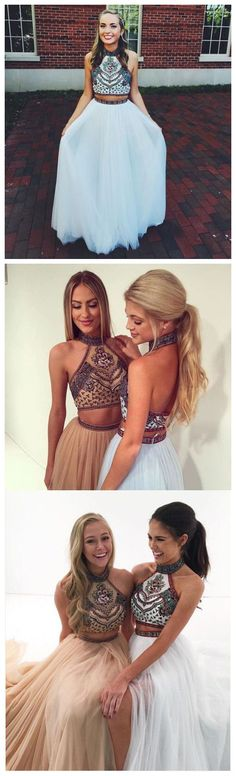 Embroidery 2 pieces prom dresses,boho prom dresses,2017 pageant prom dresses