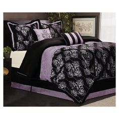 7 Pcs Madelena Majestic Floral Comforter Set Bed In a Bag Queen Black/Purple