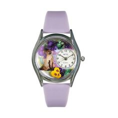 Siamese Cat Lavender Leather And Silvertone Watch