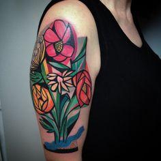 tatuaje flores cubistas