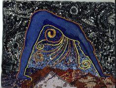 Nuit, Egyptian Sky Goddess by Virginia Brubaker Ancient Goddesses, Egyptian Mythology, Egyptian Goddess, Ancient Egyptian Art, Gods And Goddesses, Nut Goddess, Star Goddess, Goddess Art, Seed Bead Art