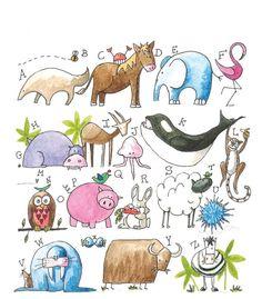 ABC   Animal Alphabet Print   Mandi Cromer #illustration