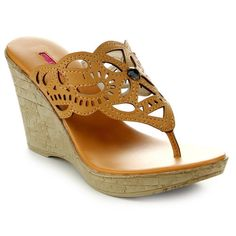 C Label Midori-4 Women's Slip On Beaded Rhinestone T-Strap Thong Wedges